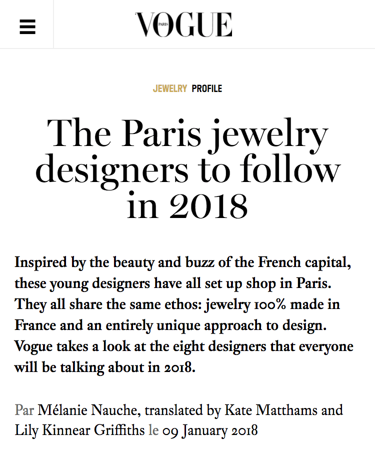 Vogue.fr - The Paris jewelry designers to follow in 2018