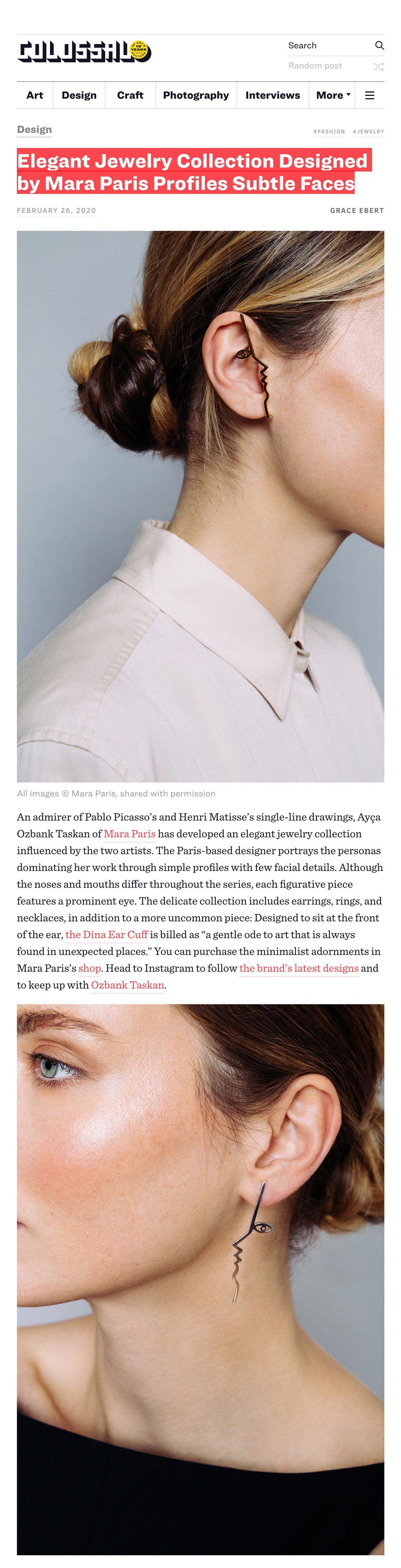 Colossal - Elegant Jewelry Collection Designed by Mara Paris Profiles Subtle Faces par Grace Ebert