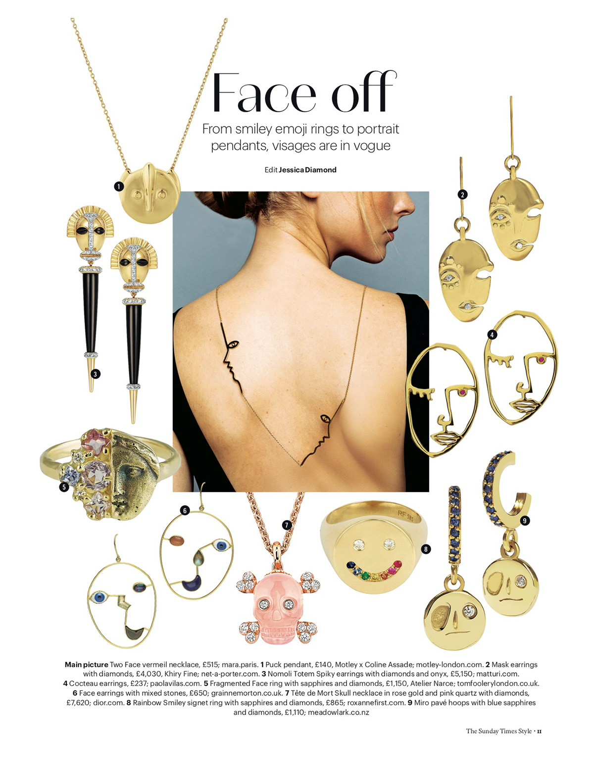 The Sunday Times - Face off. From smiley emoji rings to portrait pendants, visages are in vogue. By Jessica Diamond.