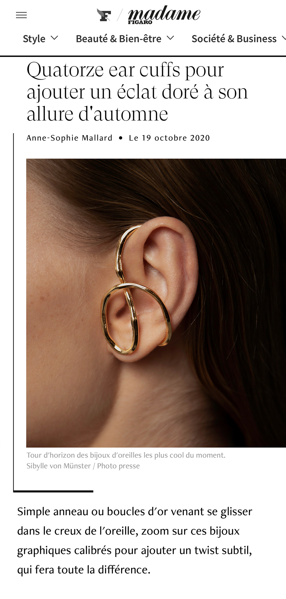 Madame Figaro - Fourteen ear cuffs to add a golden glow to your fall look