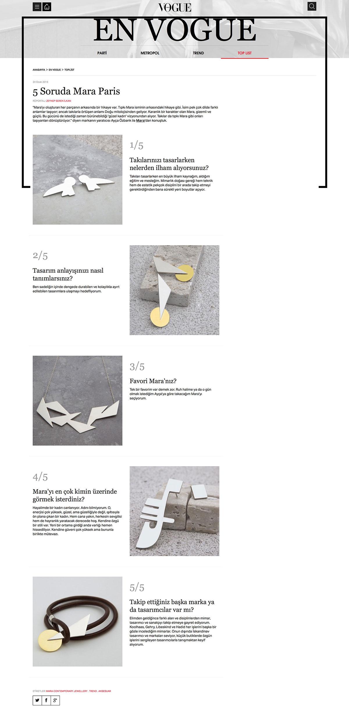 Vogue - Mara Paris en cinq questions