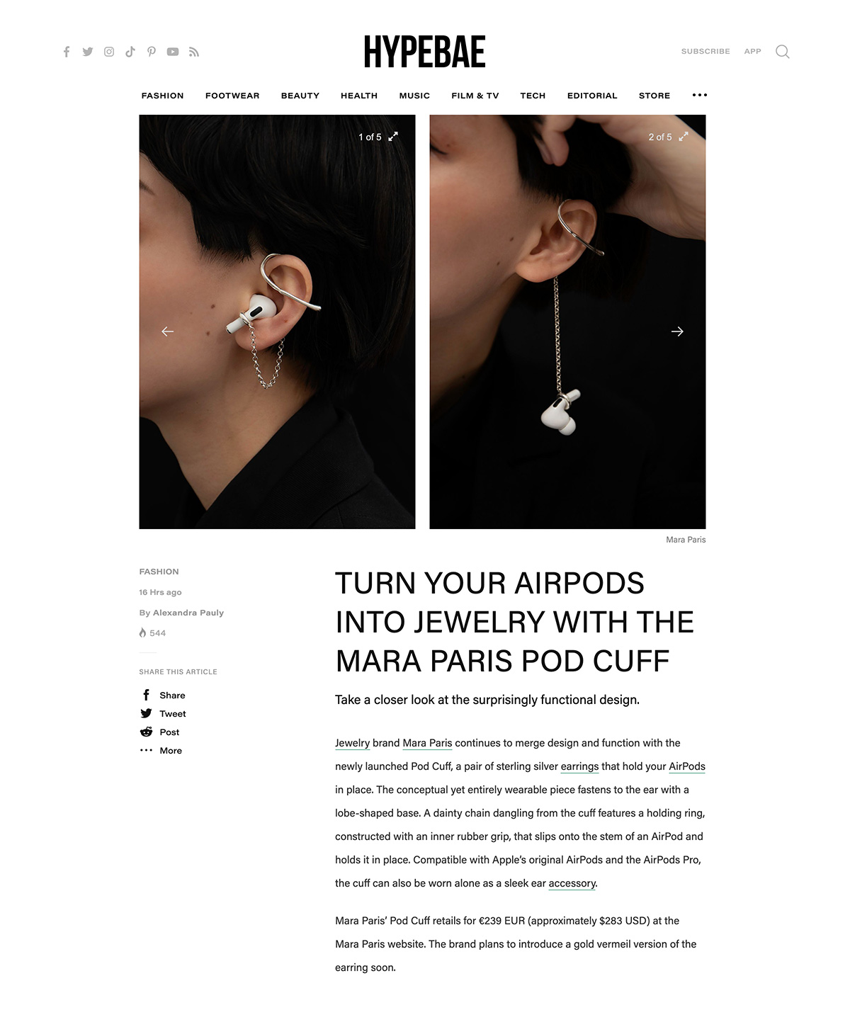 Hypebae - Turn Your AirPods Into Jewelry With The Mara Paris Pod Cuff by Alexandra Pauly