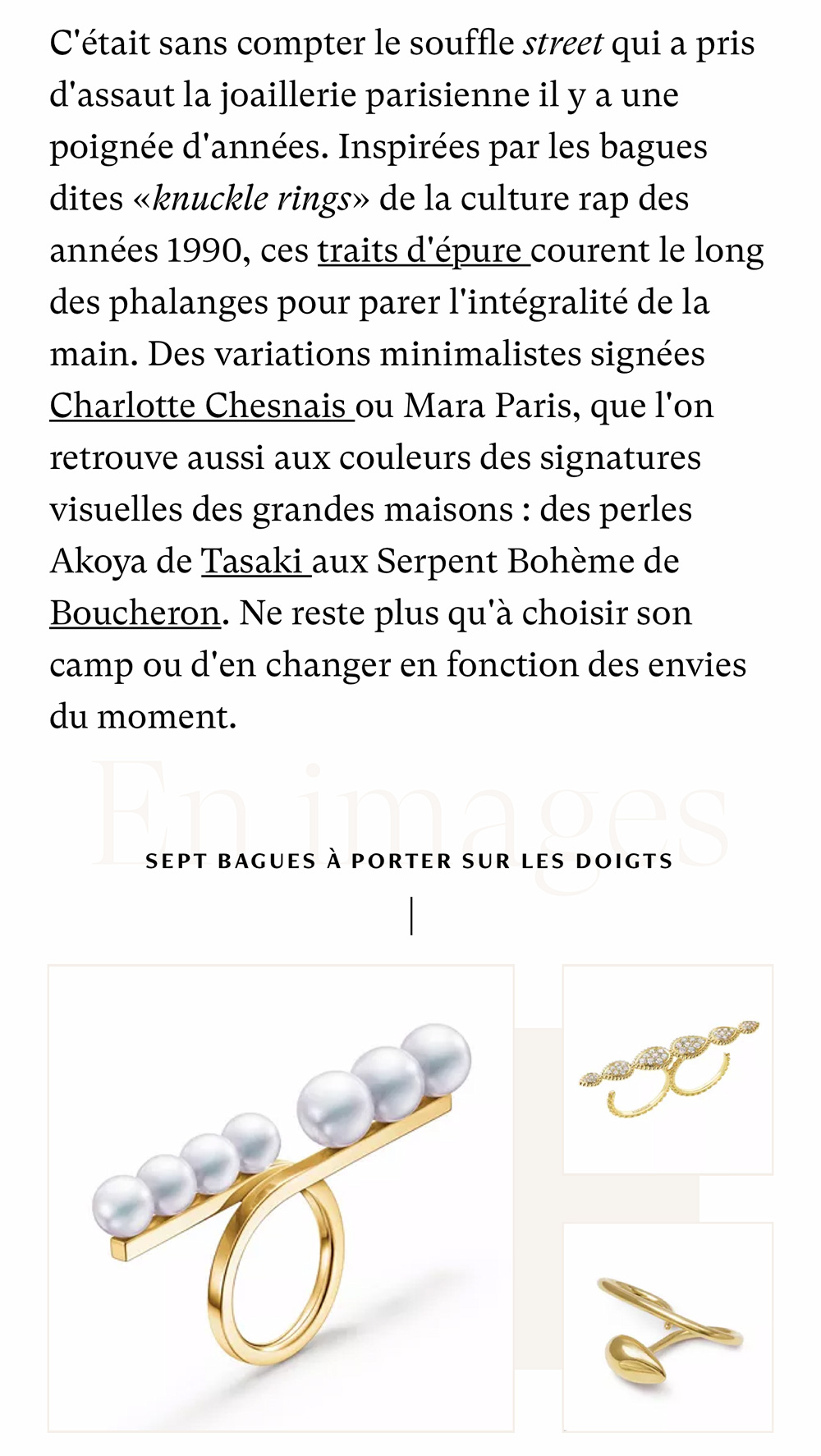 Madame Figaro - Between the fingers or on top of the hand: Ultimate competition of graphic rings