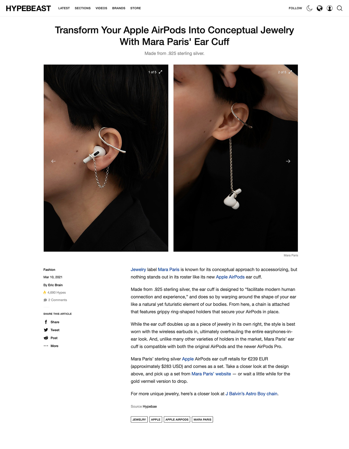 Hypebeast - Transform Your Apple AirPods Into Conceptual Jewelry With Mara Paris' Ear Cuff by Eric Brain